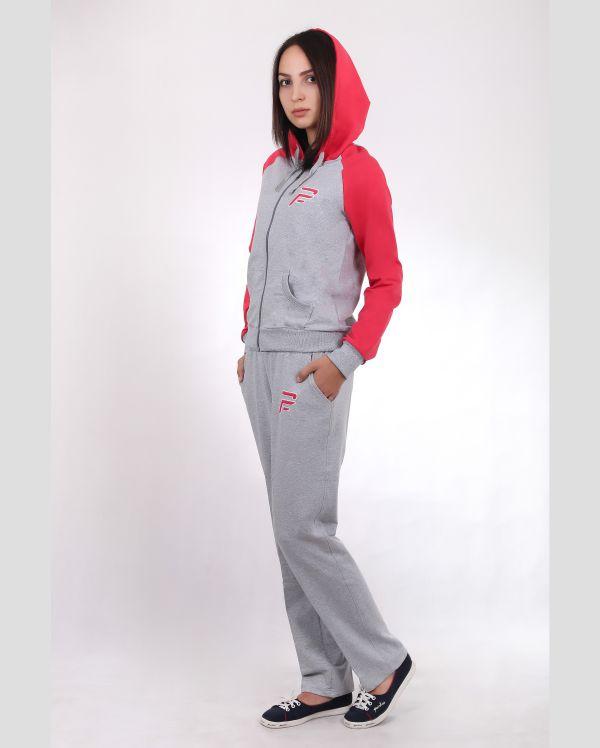 Купить Женский спортивный костюм серый с красным копюшоном