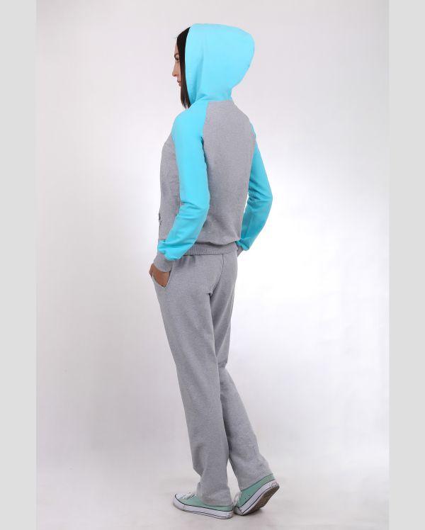 Купить Женский спортивный костюм серо-бирюзовый