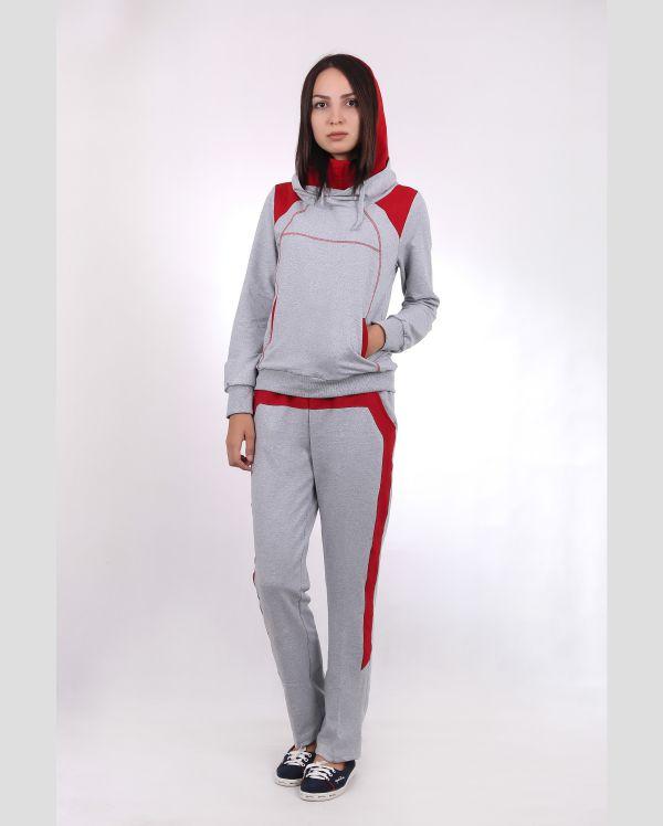 Купить Комплект женский : худи и штаны серые в красную полоску