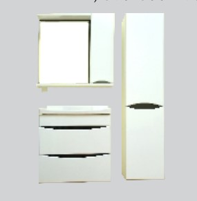 Купить Комплект мебели для ванной комнаты Olivia White (Тумба, Зеркало, Пенал)