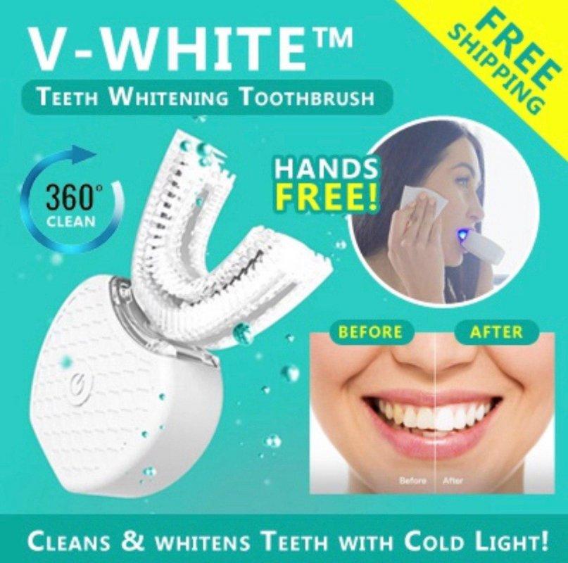 Автоматическая зубная щетка для чистки и отбеливания зубов V-WHITE