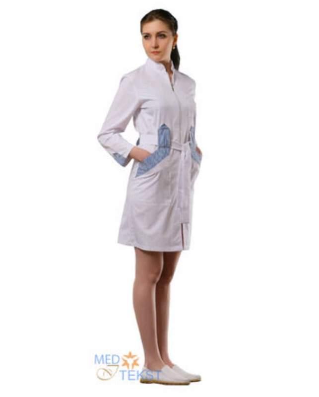 Халат женский медицинский с центральной бортовой застёжкой на молнии