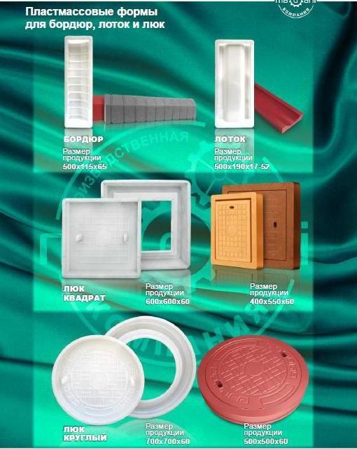 Пластмассовые формы для бордюр, латок и люк