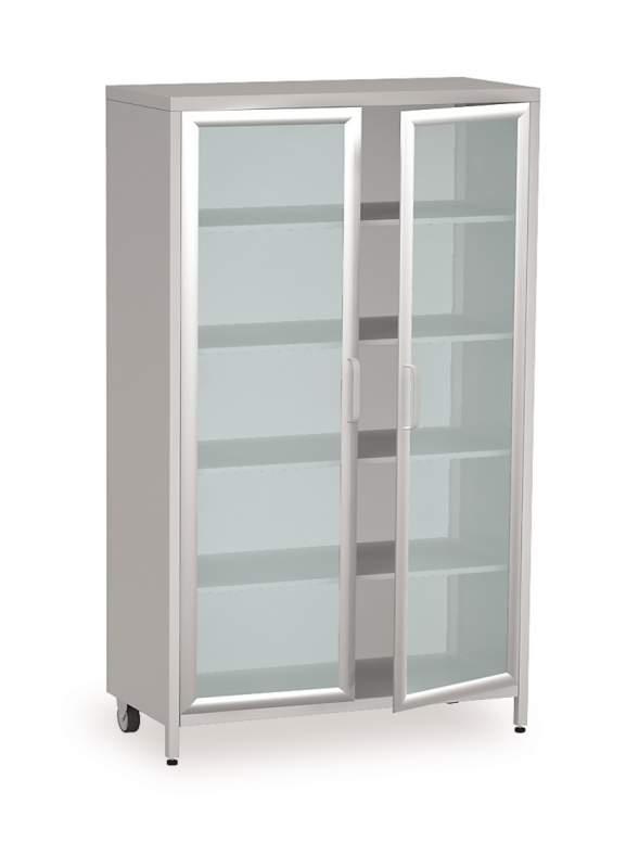 медицинский металлический двухстворчатый шкаф витрина