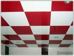 Потолок гипсовый Армстронг стандартный, цвет красно-белый