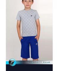 Комплект : Футболка в клетку и шорты серые