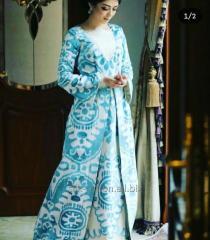 Голубой Королевский Ткань Ало-Бахмал бархат шёлковый ИКАТ вельвет