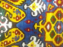 Синий Королевский Ткань Ало-Бахмал бархат шёлковый ИКАТ вельвет