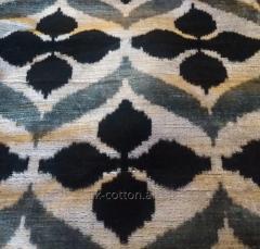 Листь Королевский Ткань Ало-Бахмал бархат шёлковый ИКАТ вельвет