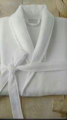 Элитный мужской вафельный халат  с веллюровым шалевым воротником