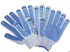 Защитные перчатки х/б с ПВХ напылением