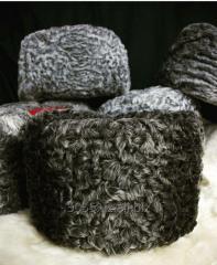 Headdresses from astrakhan fur, a sheepskin and