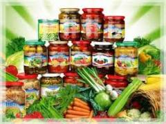 Tinned fruit and vegetable products under the