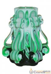 Candle carved - Green. Article: 430-1