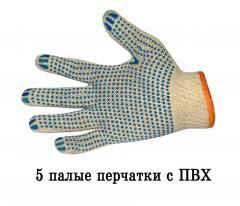Перчатки трикотажные х/б, ПВХ-Протектор