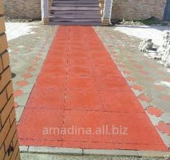 Rubber tile for arrangement of domestic