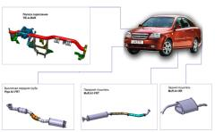 Exhaust systems of Chevrolet Gentra cars