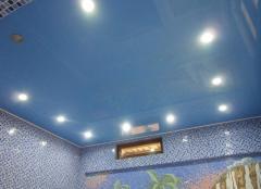 Натяжной потолок однотонный (сауна-бассейн)