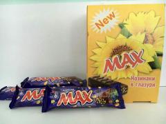 Шоколадные батончики Max с изюмом