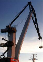 Portal cranes with hinged arrow of LLC