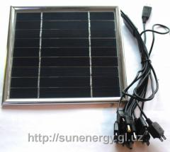 The solar charger for cell phones with USB