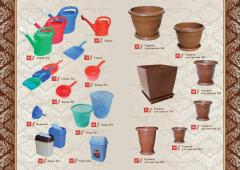 Plastic products for the house and a garden