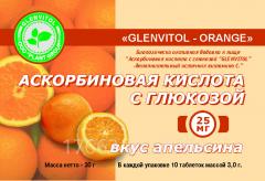 Ascorbic acid with glucose with taste of orange
