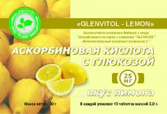 Ascorbic acid with glucose with taste of a lemon