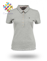 Female polo with short sleeve from melange yarn of