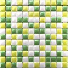 Glass mosaic Green, yellow, white