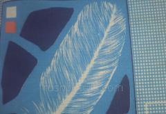 Бязь набивная полотно перо голубой