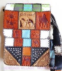 Leather bag in a patchwork style