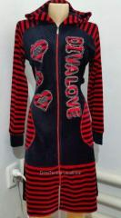 Women's dressing gown with long sleeves
