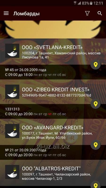 Заказать Мобильное приложение PRO lombard