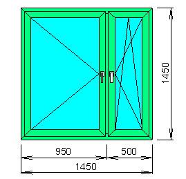 Заказать Расчёт цена пластикового окна (декор под дерево с обеих сторон) с двухкамерным стеклопакетом