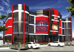 Design of shops, shopping centers in style hi-tech