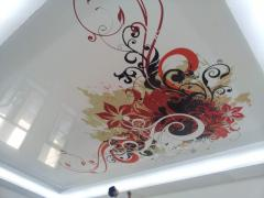 Фотопечать на натяжном потолке абстракция