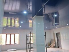 Установка натяжного потолка в бане, сауне