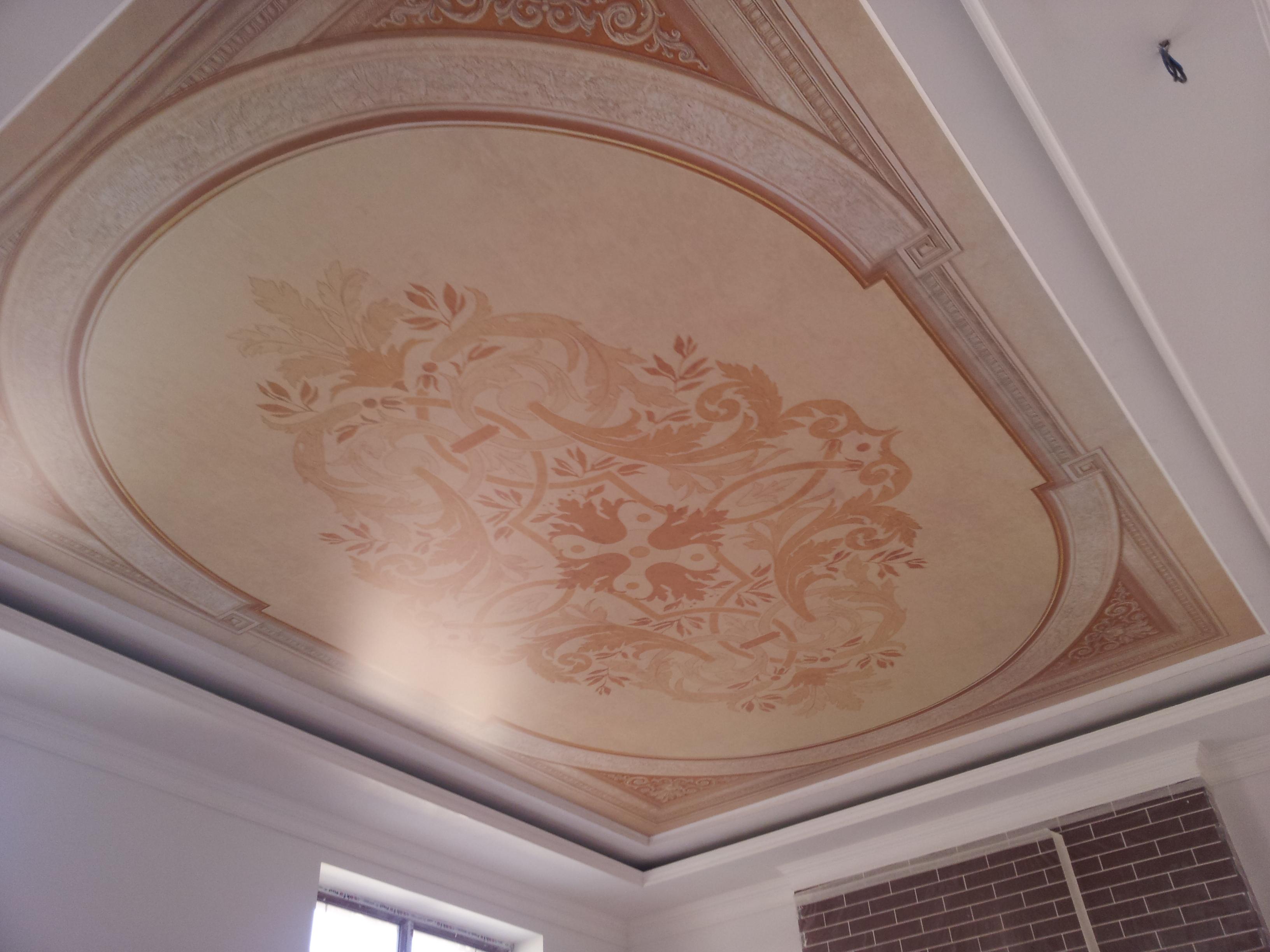 Узоры на натяжном потолке фото в
